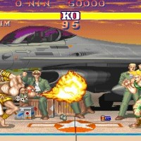 Dhalsim crache son Yoga Flame sur Guile dans Street Fighter II'