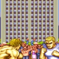 Personnages d'introduction de Street Fighter II' qui vont combattre dans la rue devant un immeuble et une foule en délire