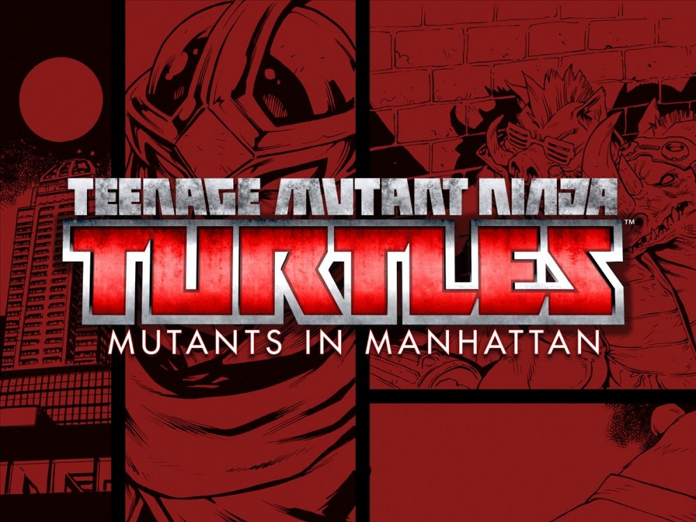 TMNT: Mutants in Manhattan logo sur fond de comic