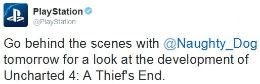 Tweet de PlayStation annonçant l'arrivée d'un making-of pour Uncharted 4: A Thief's End