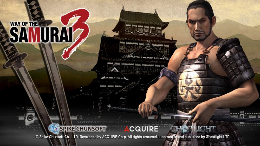 Way of the Samurai 3 samouraï devant un chateau avec logo du jeu