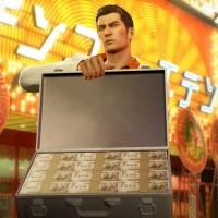 Yakuza 0 Kazuma tient une malette ouverte contenant des tas de billets de banque