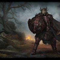 Warhold guerrier en rouge et noir devant un champ de bataille en flamme
