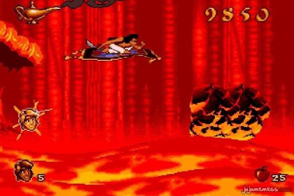 Aladdin sur le tapis volant dans le niveau de la grotte aux merveilles avec la lave et les éboulements