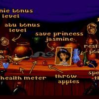 Aladdin écran intermédiaire précisant à quoi correspondent les objets du jeu sur MegaDrive