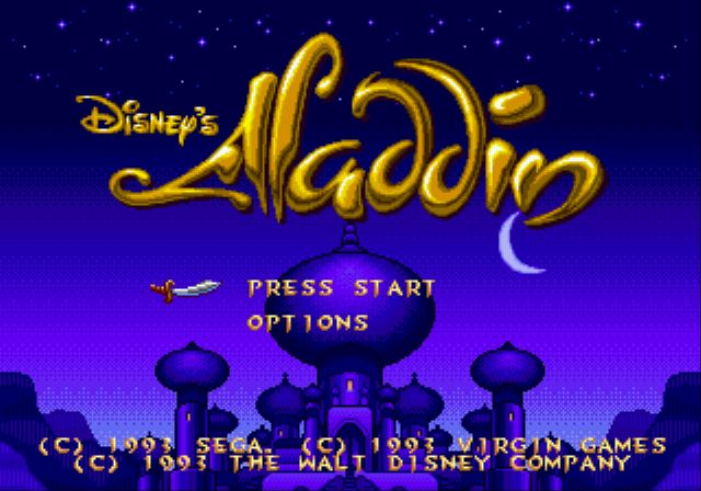 Aladdin écran titre du jeu sur MegaDrive