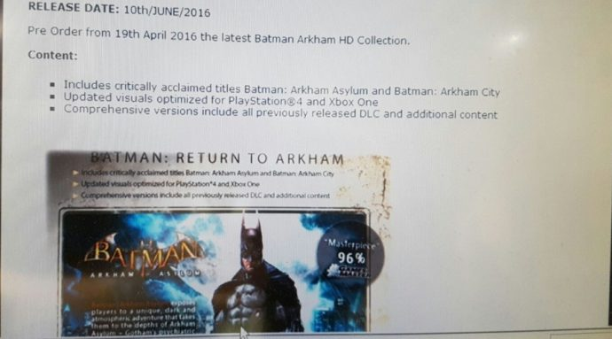 Photo de l'email annonçant la fuite de Batman Arkham HD Collection