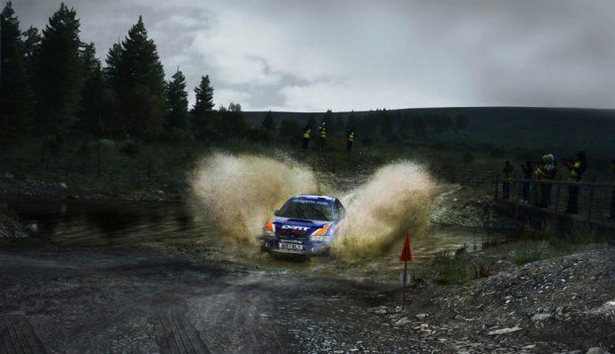 Subaru dans une rivière de DiRT Rally