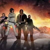 Fear Effect Sedna les héros prennent la pose sur la neige