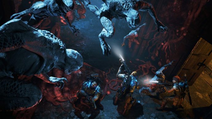Gears of War 4 locustes attaquent groupe de héros