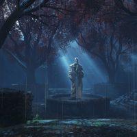 Gears of War 4 cimetière avec une statue baignant dans la lumière