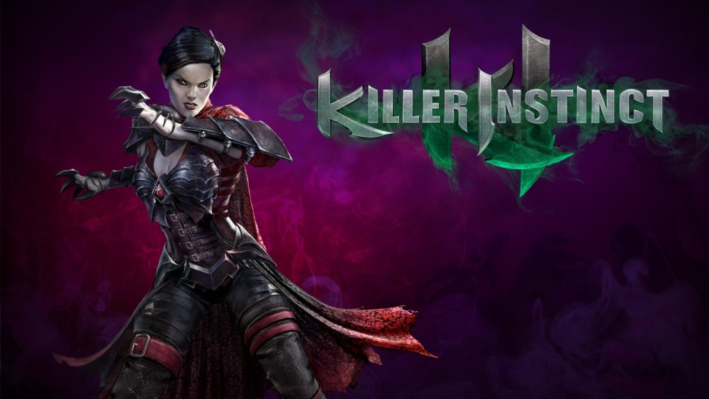 Killer Instinct Mira prend la pose à côté du logo du jeu
