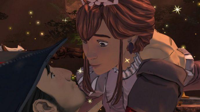 King's Quest Graham et Valanice vont s'embrasser.