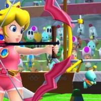 Peach au tir à l'arc dans Mario & Sonic aux Jeux Olympiques de Rio 2016