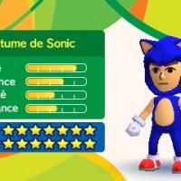Le costume de Sonic dans Mario & Sonic aux Jeux Olympiques de Rio 2016