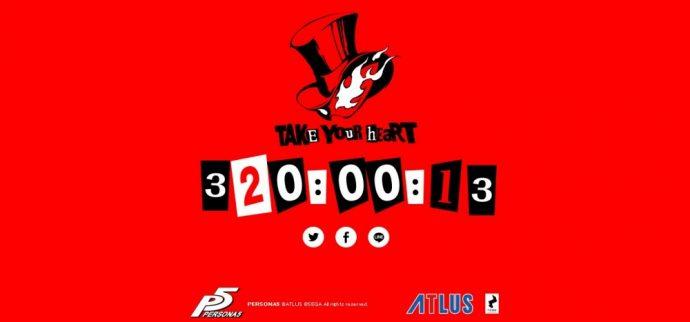 Compte à rebours du site officiel Persona 5