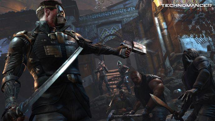 The Technomancer - héros avec une lame et un pistolet qui combat des ennemies