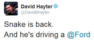 Tweet David Hayter publicité Ford