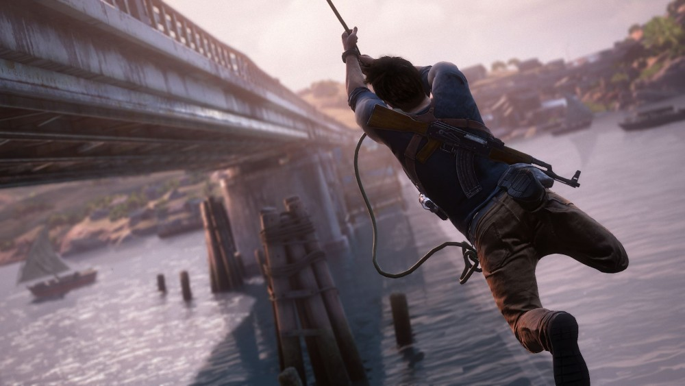 Nathan Drake à l'assaut d'un train dans Uncharted 4