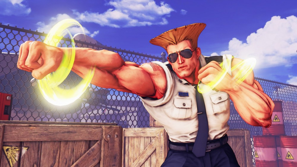 Guile donne un coup de poing dans Street Fighter V