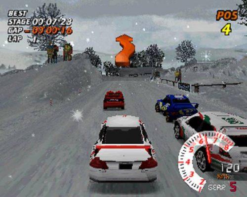 Sur un circuit enneigé de V-Rally