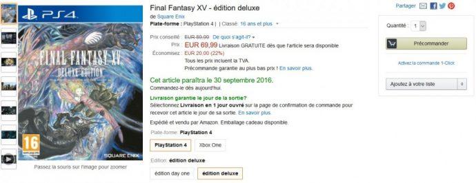 Bon Plan Final Fantasy XV Deluxe