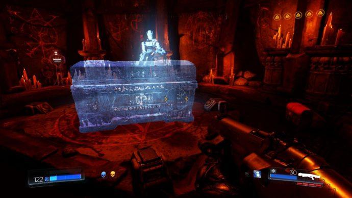 DOOM sarcophage hologramme