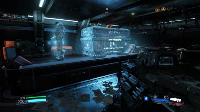 DOOM hologramme armure et sarcophage