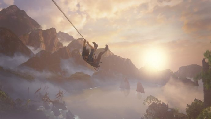 Uncharted 4 : Nathan Drake en plein vol