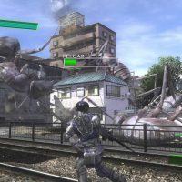 Earth Defense Force 4.1 ranger et fourmis sur voie ferrée