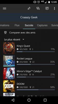 Appli mobile Xbox Succès
