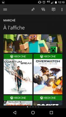 Appli mobile Xbox Marché