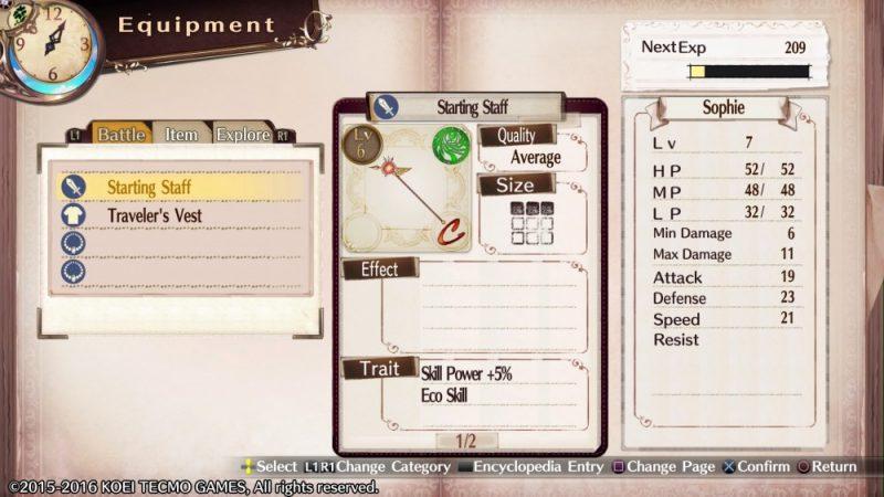 Atelier Sophie The Alchemist of the Mysterious Book - L'équipement