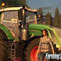 Farming simulator 17 femme devant un tracteur