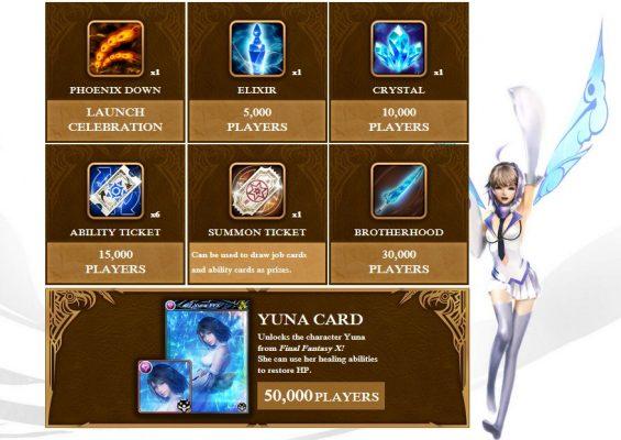 Mobius Final Fantasy tableau des récompenses de pré-enregistrement