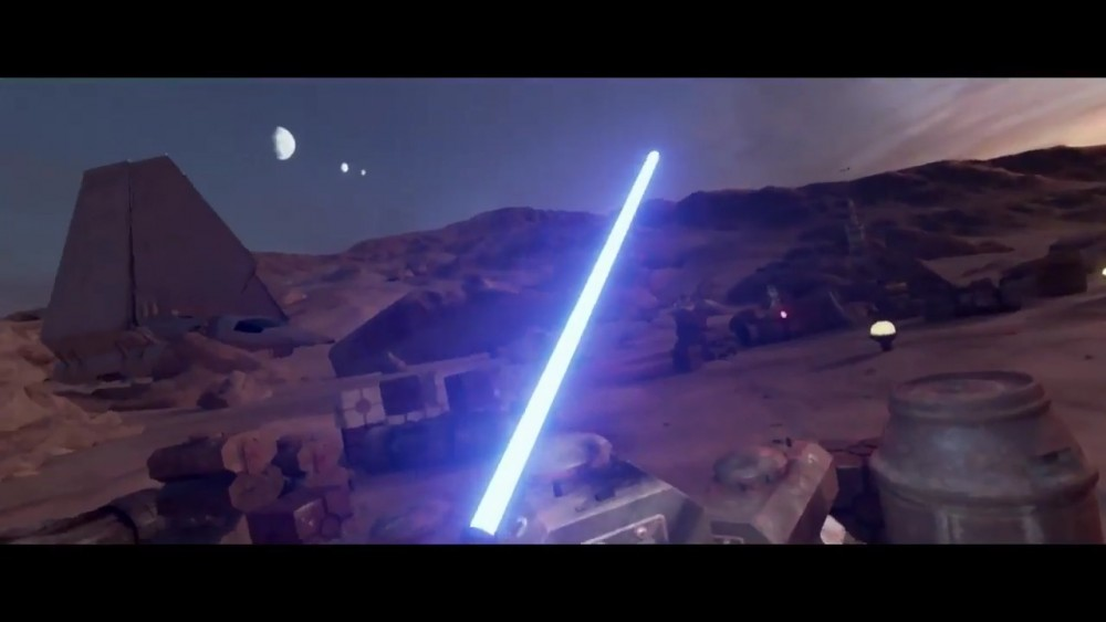 Star Wars Trials on Tatooine sabre laser bleu