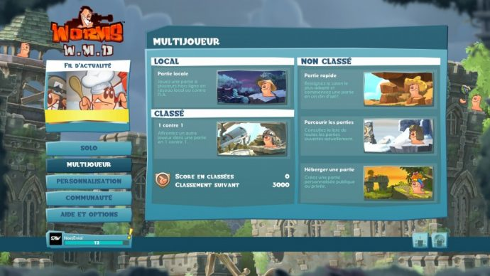 Worms WMD - menu multijoueur