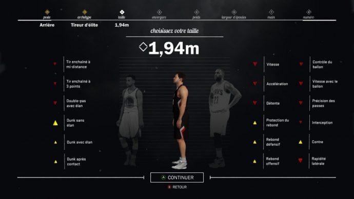 Personalisation du joueur dans NBA 2K17