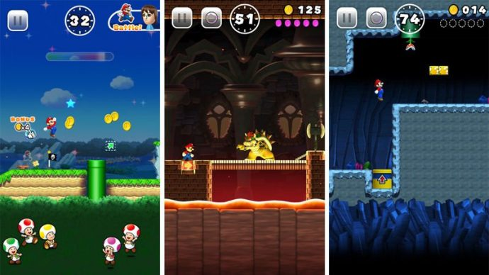Super Mario Run différents screens