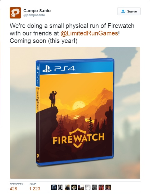 Tweet Campo Santo Firewatch PS4
