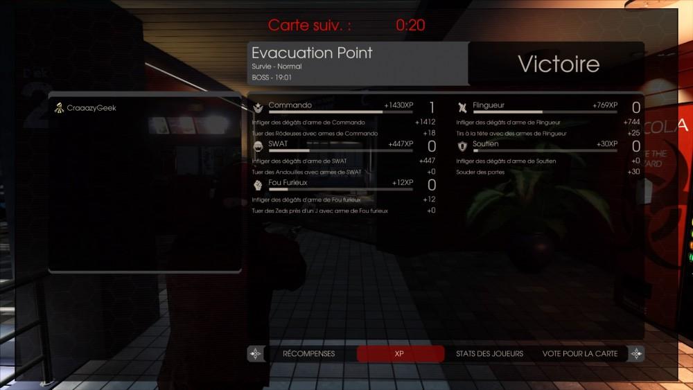 Plusieurs classes peuvent recevoir de l'XP lors d'une partie