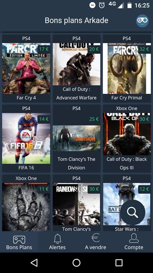 La liste jeux et leur côte moyenne