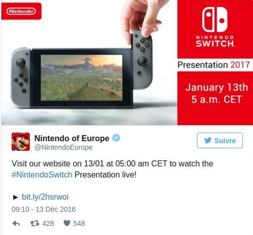 Nintendo annonce la présentation de la Switch sur Twitter