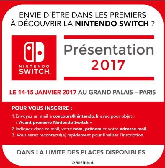 Image de présentation de l'événement pour tester la Nintendo Switch au Grand Palais le 15 et 15 Janvier 2017