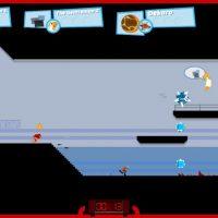 Des objets dans tous les sens, des personnages qui sautent, se prennent des objets dans la tête dans SpeedRunners