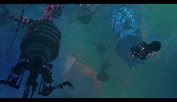 Un des écrans du trailer de Diluvion, avec une magnifique ambiance robotique sous-marine