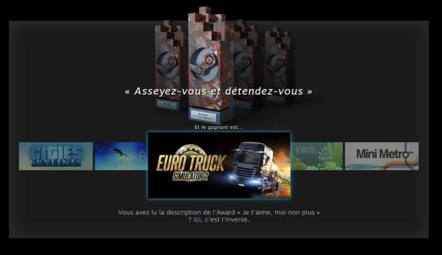 Euro Truck Simulator II rejoint le trône de GTA V lors de ces Steam Awards 2016 avec la catégorie Asseyez-vous et détendez-vous.