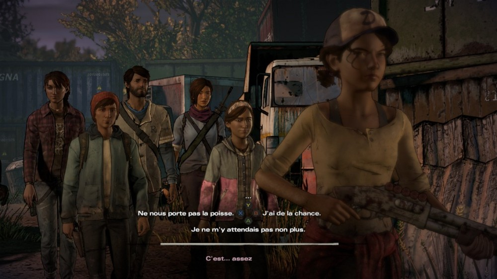 Le groupe de survivant de The Walking Dead: A new Frontier