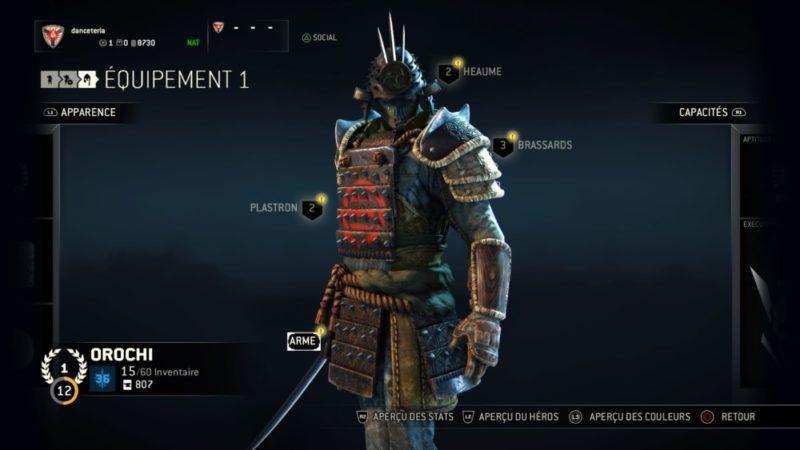 Test For Honor - Orochi amélioration équipement