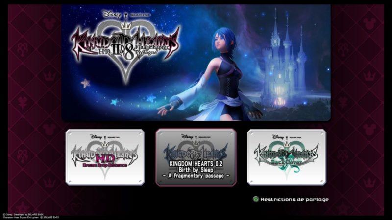 Test Kingdom Hearts HD 2.8 Final Chapter Prologue - Menu de sélection